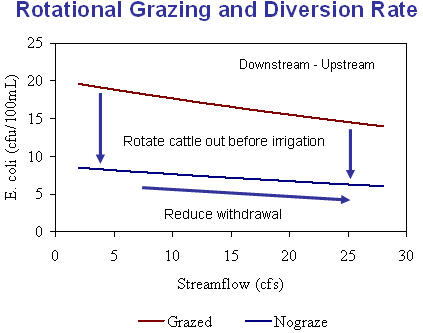If a pasture was actively grazed during irrigation, we observed a significant increase in downstream E. coli concentrations. Also, as the volume of streamflow decreased, we observed a significant increase in downstream E. coli concentrations